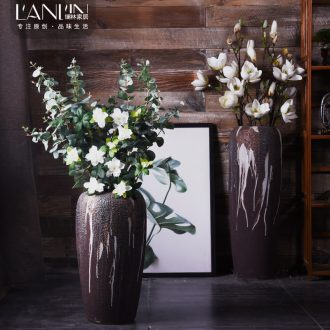 Large ceramic vase furnishing articles dried flower arranging flowers home sitting room ground large coarse some ceramic pot American decoration