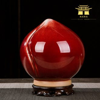 Chinese ceramics vase of red peach jun porcelain home decoration decoration handicraft furnishing articles rich ancient frame study