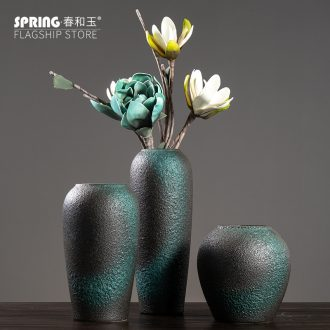 Contemporary and contracted ceramic flower vase continental creative living room white dried flowers, Nordic home furnishing articles