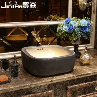 JingYan grey wood art stage basin creative archaize ceramic lavatory square basin sink restoring ancient ways