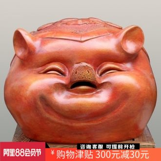 Jingdezhen violet arenaceous pigs lucky money piggy bank home sitting room mesa place adorn article opened the gift