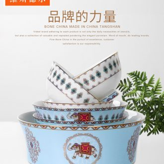 High-class european-style dishes suit household bone ceramic bowl bowls personality tableware Nordic rainbow noodle bowl porringer suits