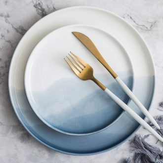 Million jia ins western-style steak under glaze color porcelain plate plate web celebrity home dishes contracted dishes for a long time