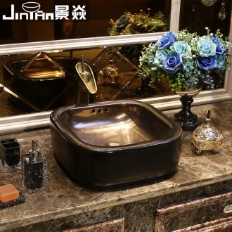 JingYan black art stage basin industrial ceramic sinks square wind restoring ancient ways is archaize the sink basin