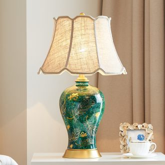 Ceramic lamp light American luxury Angle of Europe type restoring ancient ways is the new Chinese style villa living room sofa a few full copper lamp of bedroom the head of a bed
