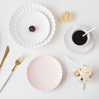 Ijarl million jia creative contracted ceramic breakfast fruit bowl lovely cake plate plate plate petals dish suits