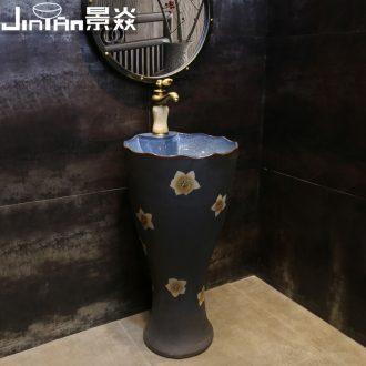 JingYan pearl flower column type lavatory vertical ceramic sink floor one basin sink art column