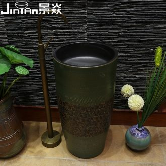 JingYan retro art carving pillar basin ceramic basin of pillar type lavatory basin vertical lavabo one-piece column