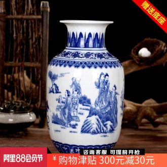 Archaize characters floret bottle of jingdezhen ceramics of blue and white porcelain vase mesa of sitting room adornment handicraft furnishing articles