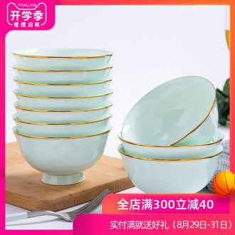 Jingdezhen ceramic household 4.5 inch bowl phnom penh 4/6/10 Chinese celadon bowls set a ceramic bowl