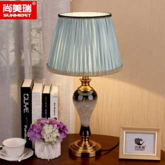 American desk lamp jingdezhen ceramic bedside lamp sitting room adornment bedroom modern Chinese hand-painted hotel apartment
