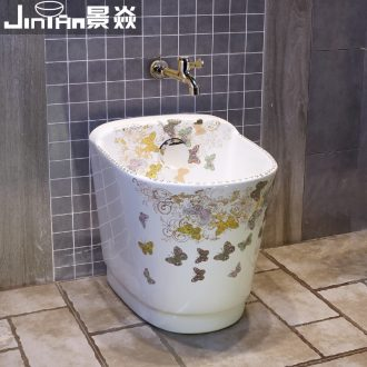 JingYan butterfly European art wash mop pool household balcony mop basin large mop pool ceramic mop pool