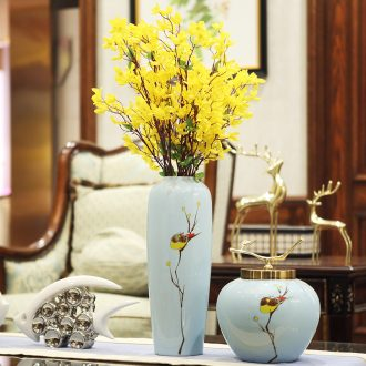Jingdezhen ceramic vase furnishing articles simulation flower flower arranging dried flowers sitting room porch light much TV ark postmodern contracted