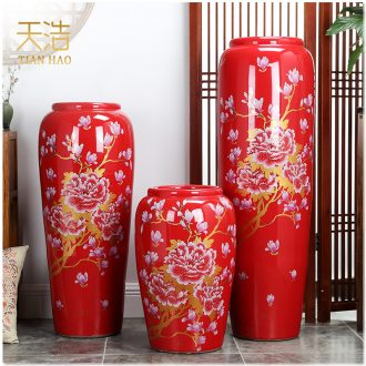 Jingdezhen ceramics 3 sets of large red vase contemporary household housewarming gift sitting room adornment is placed