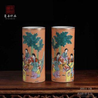 Imitation of the lion quiver cap tube ladies bamboo seven sages cap tube porcelain vase tong qu antique porcelain vase