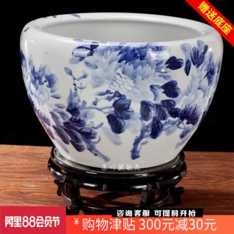 Jingdezhen ceramics brocade carp goldfish bowl of blue and white porcelain peony water lily lotus tortoise cylinder household adornment furnishing articles