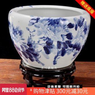 Jingdezhen ceramics brocade carp goldfish bowl of blue and white porcelain peony water lily lotus tortoise cylinder household adornment furnishing articles