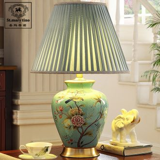 Tmall elves voice intelligent voice control new Chinese style classical bedroom living room full of copper ceramic desk lamp bedside lamp