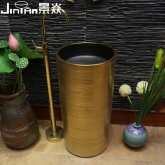 JingYan golden art pillar basin ceramic one pillar lavabo lavatory floor type basin vertical column basin