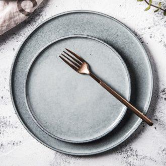 Flat tray household ceramics creative retro snack plate of pasta dish western European plate ins