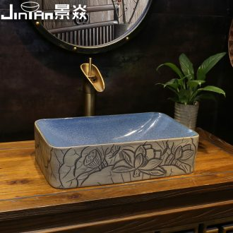JingYan new Chinese lotus flower art stage basin rectangle ceramic lavatory household small size on the sink