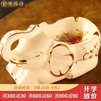 Vatican Sally's 2018 European creative ashtray retro fashion personality large-sized ceramic elephant ashtray friends gifts