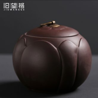 Old looking, violet arenaceous caddy ceramic seal storage half a catty receives domestic tea pot puer tea tea boxes