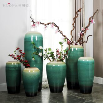 Jingdezhen ceramic landing big vase sitting room place large number dried flowers flower arrangement European contracted and contemporary adornment