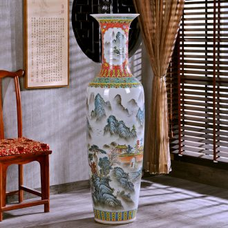 Jingdezhen hand-painted archaize pastel of large vase study of new Chinese style sitting room adornment hotel office furnishing articles