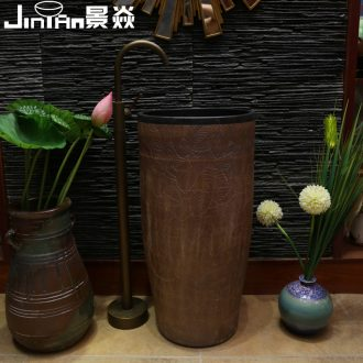 JingYan pillar basin of Chinese style restoring ancient ways of the ancients set basin ceramic lavabo vertical basin one-piece type lavatory