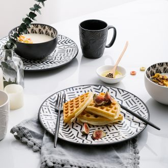 Ijarl million jia Nordic ceramic household jobs rainbow noodle bowl dessert for breakfast bowl of soup bowl with a new plates
