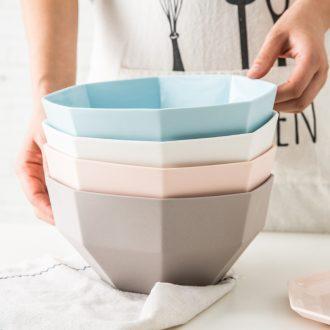 Ijarl million jia creative ceramic tableware large la rainbow noodle bowl bowl eat rainbow noodle bowl salad bowl lake