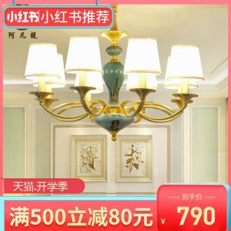 Any lift to American sitting room lights all copper chandelier contracted bedroom restaurant ceramic compound floor villa copper lamp light atmosphere