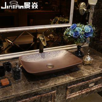 JingYan Fred over art stage basin creative ceramic lavatory rectangular basin archaize lavabo restoring ancient ways
