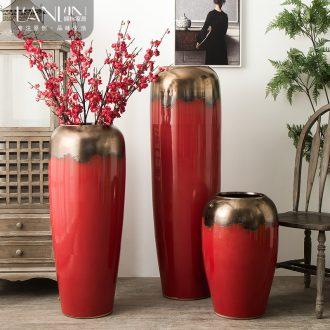 Jingdezhen ceramic vase big sitting room dry flower vase planting Chinese red modern european-style villa hotel decoration furnishing articles