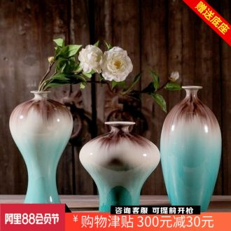 Jingdezhen ceramics kiln ice crack glaze vase three-piece home furnishing articles contemporary sitting room adornment