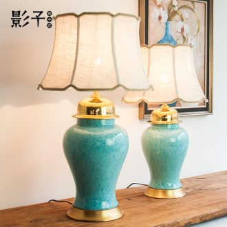 Modern new Chinese style ceramic desk lamp full copper general blue tank large American living room a study desk lamp of bedroom the head of a bed