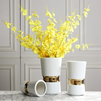 Modern light luxury household ceramic vase sample room soft adornment Nordic dried flowers, flower arranging flowers, furnishing articles soft outfit