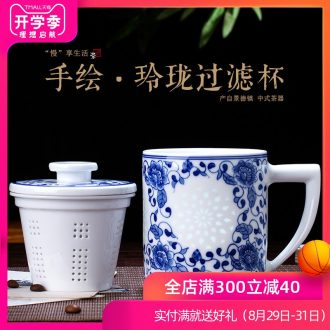 Is rhyme of jingdezhen blue and white and exquisite glaze ceramic cup hand-painted color tea cup work under the boss gift cup China cups