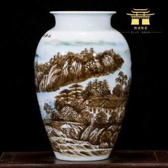 Jingdezhen ceramics hand-drawn pastel landscape painting vases, flower arranging furnishing articles sitting room porch of new Chinese style household act the role ofing is tasted