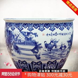 Tank large hand-painted blue and white porcelain of jingdezhen ceramics water lily tortoise figure sitting room roll cylinder cylinder spring of the ancient philosophers play