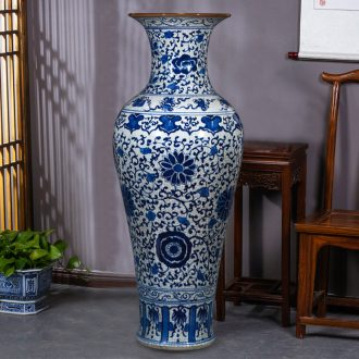 Archaize of jingdezhen blue and white porcelain crack big ceramic vase Chinese style living room floor furnishing articles home decoration flower arrangement
