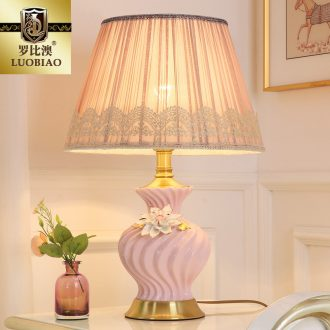Desk lamp of bedroom the head of a bed lamp, contemporary and contracted creative household adjustable light sweet romance Chinese style wedding celebration of ceramic lamp