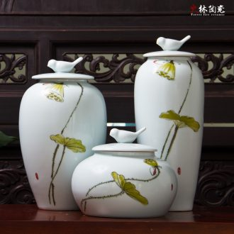 Modern new Chinese style is pure hand-painted ceramic vase three-piece between example home porch decoration porcelain furnishing articles