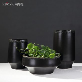 Jet Chinese wind restoring ancient ways ceramic vase of modern new Chinese style wood house sitting room zen place adorn article