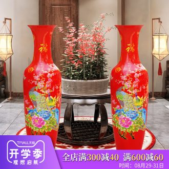 Jingdezhen ceramics China big red vase modern Chinese style living room floor decoration moved into place