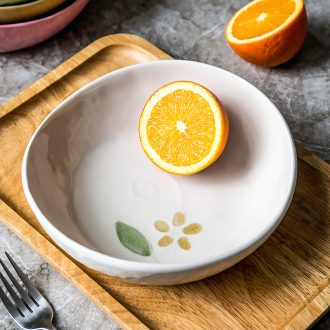 Ceramic creative Japanese fruit plate irregular household food dish deep mouth personality salad bowl ins web celebrity plates