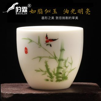 Leopard lam owner, a cup of tea light kung fu ceramic cups single household pure manual white porcelain jingdezhen small sample tea cup