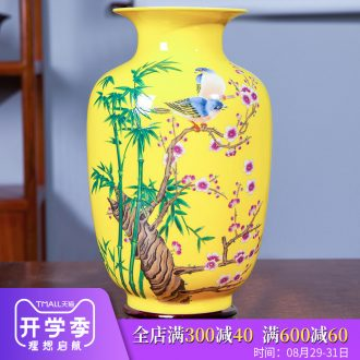 Jingdezhen ceramics from yellow floret bottle of flower arranging new wine sitting room adornment rich ancient frame of Chinese style household furnishing articles