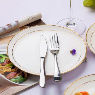 Western style phnom penh jingdezhen ceramic plate of creative household utensils bone porcelain plates disc beefsteak plate plate